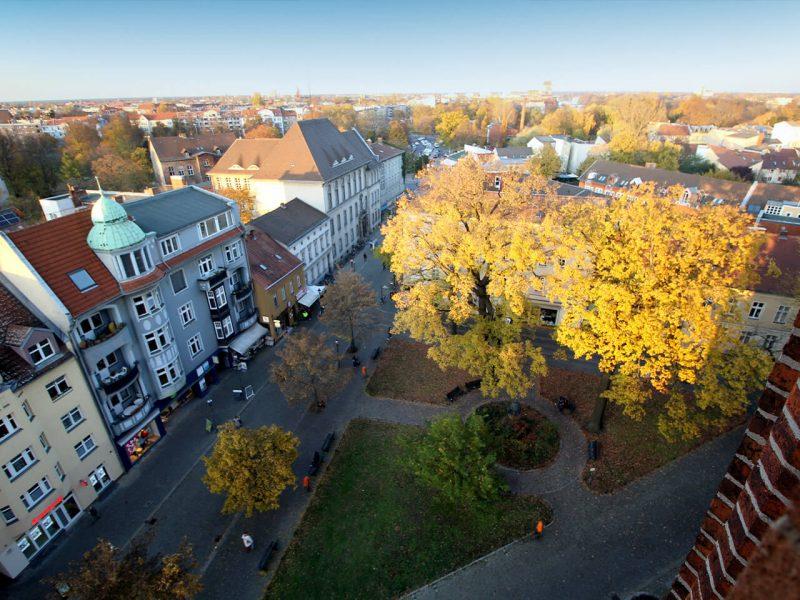 Luftaufnahme des Reformationsplatzes